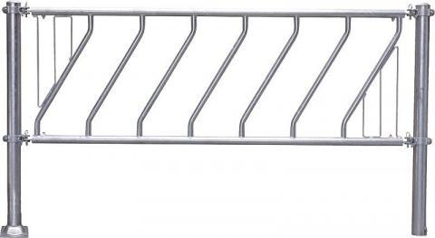Diagonal Feed Front 4.0 m, 9 feedspaces, galvanised, for young cattle with central support