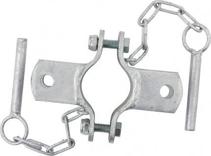 Clamp, diam. = 60 mm, 2 fasteners, galv.