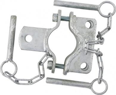 Clamp, diam. = 60 mm, 3 fasteners, galv.